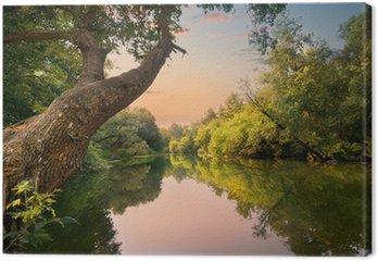 Obraz na Płótnie Wieczorem na rzece