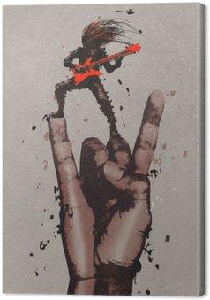 Obraz na Płótnie Wielka ręka w rock n roll podpisać z gitarzystą, ilustracja malarstwo