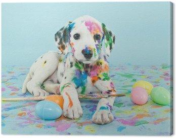 Obraz na Płótnie Wielkanoc dalmatain szczeniaka