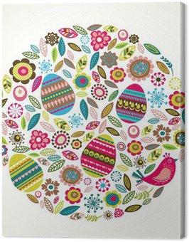 Obraz na Płótnie Wielkanoc karty z pozdrowieniami z kwiatów