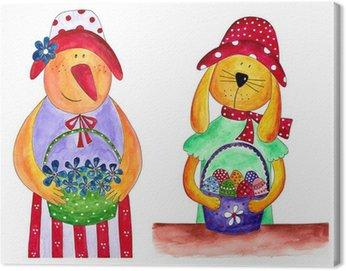Obraz na Płótnie Wielkanoc kurę i królika. W stylu country