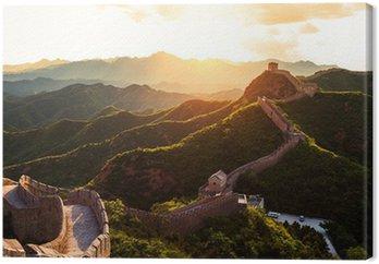 Obraz na Płótnie Wielki Mur pod słońcem podczas zachodu słońca