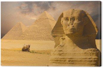 Obraz na Płótnie Wielkie Piramidy Sfinks twarzy Biały Zachód