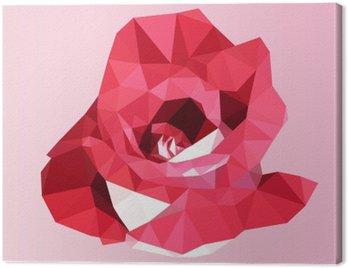 Obraz na Płótnie Wielokątne czerwona róża. poli niska trójkąt geometrycznej kwiat wektora