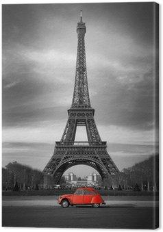 Obraz na Płótnie Wieża Eiffla i czerwony-paris samochód