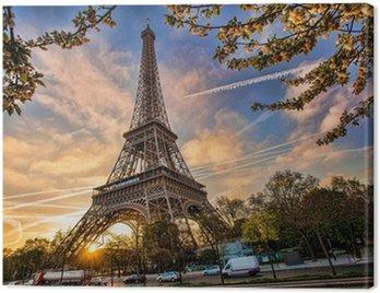 Obraz na Płótnie Wieża Eiffla przed wschodem słońca w Paryżu, Francja
