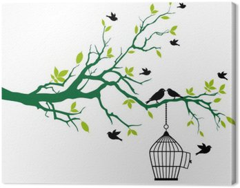 Obraz na Płótnie Wiosną drzewo z Klatka dla ptaków i całuje ptaków