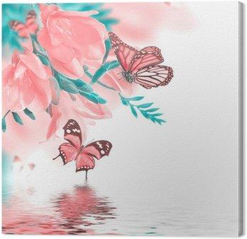 Obraz na Płótnie Wiosna żółty pierwiosnek i motyl, kwiatowy tle