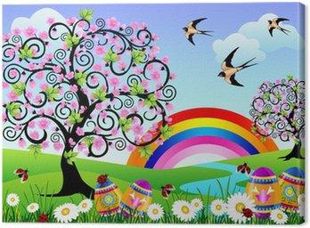 Obraz na Płótnie Wiosnę krajobraz z pisanek, biedronki i tęcza