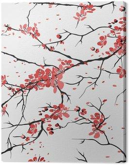 Obraz na Płótnie Wiśnia lub sakura bezszwowe tło wzór