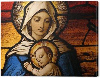 Obraz na Płótnie Witraż przedstawiający Marię Dziewicę posiadania dziecka Jezusa