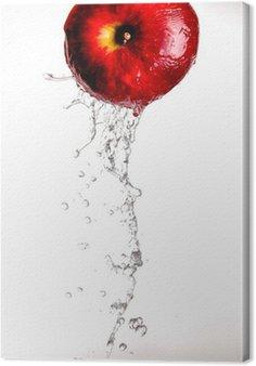 Obraz na Płótnie Woda odlewania i zalewaniem przez Red Delicious jabłko na białym tle