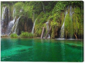 Obraz na Płótnie Wodospad i jezioro w Jeziora Plitwickie, Chorwacja.