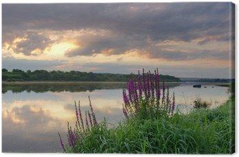Obraz na Płótnie Wschód słońca nad rzeką