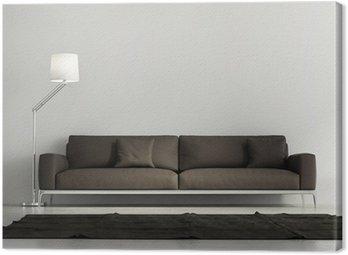 Współczesna elegancki salon, brązowe skórzane kanapy, ciemny dywan
