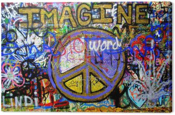 Obraz na Płótnie Wyobraź Lennon Wall Graffiti