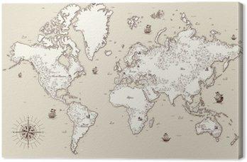 Obraz na Płótnie Wysoka szczegółowy, Stary mapa świata z elementami dekoracyjnymi
