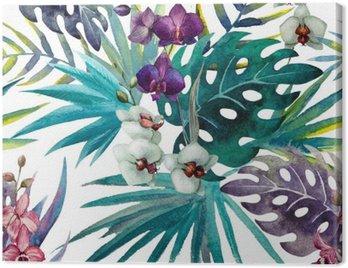 Obraz na Płótnie Wzór liści hibiskusa orchidei tropików akwarela