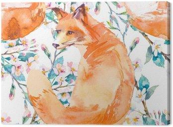 Obraz na Płótnie Wzór w naturalnym środowisku. Fox i gałęzi kwitnących. ,