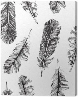 Obraz na Płótnie Wzór z ręcznie rysowane piór