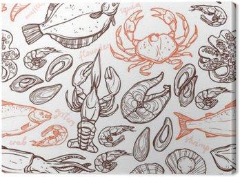 Obraz na Płótnie Wzorzec z owocami morza ręcznie rysowanych elementów z homara, ośmiornice, kalmary, łosoś, flądra, kraby, małże, ostrygi i krewetki na białym tle