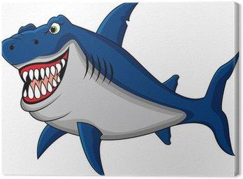 Obraz na Płótnie Zabawna kreskówka rekin