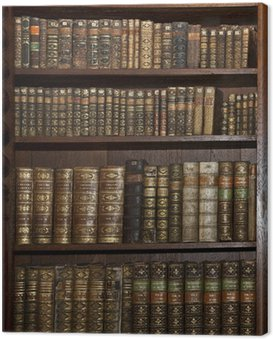Obraz na Płótnie Zabytkowe stare książki w starej biblioteki półki