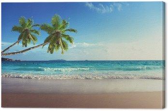 Obraz na Płótnie Zachód słońca na plaży Seszele