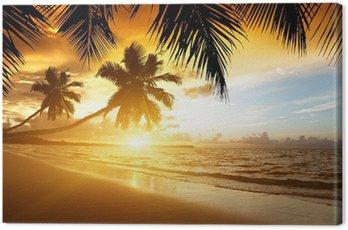 Obraz na Płótnie Zachód słońca na plaży w Morzu Karaibskim
