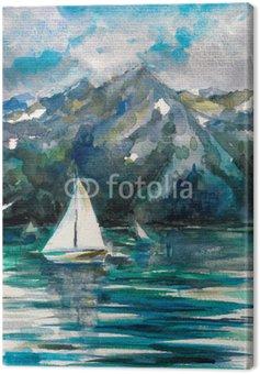 Żaglówka na jeziorze akwarelą malowany.
