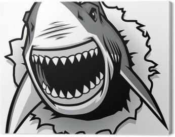 Obraz na Płótnie Żarłacz biały zgrywanie z otwartymi ustami