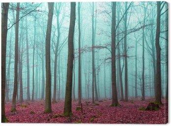Obraz na Płótnie Zauber Wald w Rot und Türkis