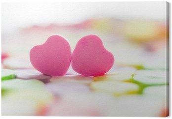 Obraz na Płótnie Zbliżenie z serca cukierki z komunikatem