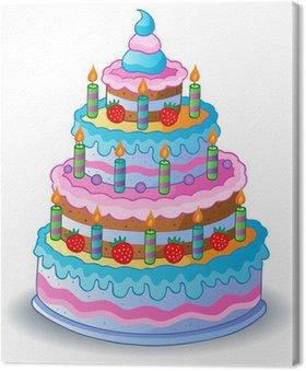 Obraz na Płótnie Zdobione tort urodzinowy 1