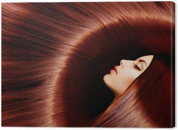 Obraz na Płótnie Zdrowe długie brązowe włosy. Kobieta brunetka
