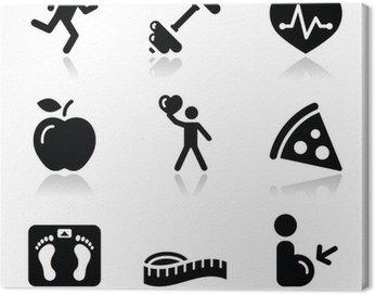 Obraz na Płótnie Zdrowie i fitness czarny czysty zestaw ikon