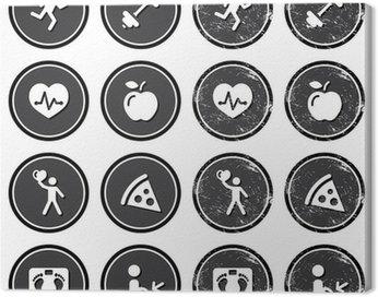 Obraz na Płótnie Zdrowie i fitness retro etykiety zestaw ikon