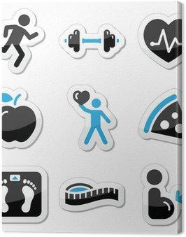 Obraz na Płótnie Zdrowie i fitness zestaw ikon