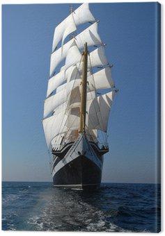 Obraz na Płótnie Żeglarstwo fregata pod pełnymi żaglami w oceanie