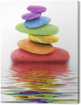 Obraz na Płótnie Zen kamienie w wodzie tęczy