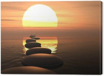 Zen ścieżka z kamieni w zachodzie słońca