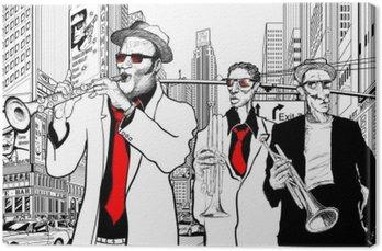 Obraz na Płótnie Zespół jazzowy w ulicy Nowym Jorku