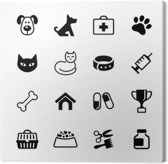 Obraz na Płótnie Zestaw 16 ikon - Zwierzęta domowe, kliniki weterynarz, weterynaria