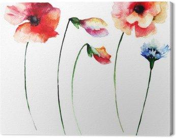 Obraz na Płótnie Zestaw akwareli letnich kwiatów