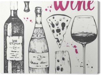 Obraz na Płótnie Zestaw do wina. produkty do win w stylu szkicu.