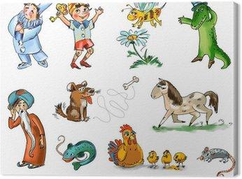 Obraz na Płótnie Zestaw postaci bajkowych i zwierząt