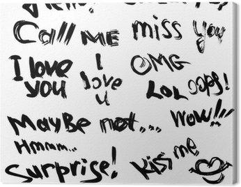 Obraz na Płótnie Zestaw ręcznie pisanych krótkich fraz Witaj, pocałuj mnie, kocham cię, SU
