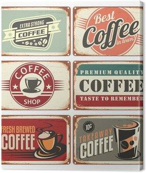 Obraz na Płótnie Zestaw rocznika kawy znaki cyny