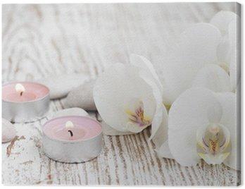 Zestaw spa z białych orchidei