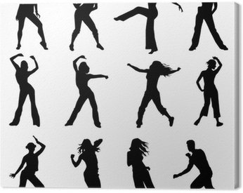 Obraz na Płótnie Zestaw Zumba sylwetki tancerzy